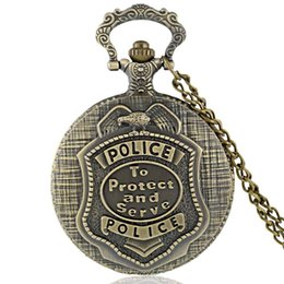 Wholesale Police Watches - Antique Police Pocket Pendant Watch Bronze Forces Pocket Watches Pendant Necklace With Chain Badge Theme Quartz US Police Jewelry Gift
