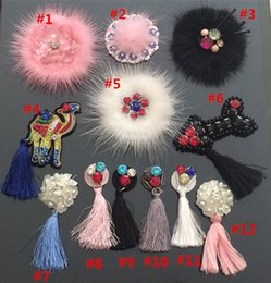 Wholesale Wholesale Mink Hair Accessories - mink hair tassels sequined rhinestone beaded flower camel narrow patch for clothing hat shoes bag decorative diy accessories appliqued600