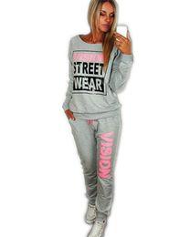 Wholesale Wearing Belts Slim Women - 2016 New Pink Vision Street Wear Print Fleece Women's Tracksuits O-Neck Sport Suit Set Jogging Suits For Women Warm Ski Down Sportswear