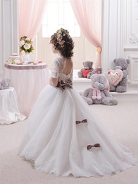 Wholesale Miniature Shorts - 2017 Miniature Bride Gowns for Little Girls Sheer Neck Appliques Organza Ballgown Easter Dresses for Girls with Half Sleeves and Beads Sash