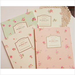 Wholesale Diary Book Flower - New sweet vintage rose flowers notebook  diary   A5 book Office & School Supplies Free Shipping WJ0195
