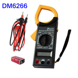Wholesale Lcd Volt Amp Display - DT266 AC DC Digital Clamp Multimeter Electronic Volt Amp Resistance Tester Meter Data LCD Display INS_50X