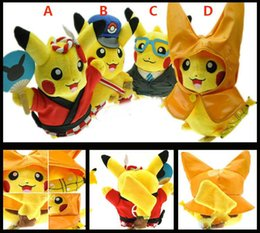 Wholesale Children Character Raincoats - NEw Poke Pikachu Plush Doll Toys Children Kids Cartoon Stuffed Cosplay Costume Raincoat Postmen Character Toys XMAS Gifts