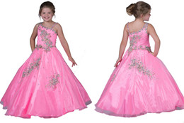 Wholesale Layered One Shoulder Dress - The Best Selling Exquisite Little Girls Dresses Layered One Shoulder Beads Backless Tiers Ball Gowns For Teen Children Floor Length Prom