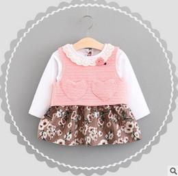 Wholesale Dress Set Girls Heart - Newborn kids outfits baby girls lace collar floral printed dress+love heart waistcoat 2pc princess sets 2017 kids autumn clothes T0016