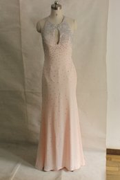 Wholesale High Neck Jeweled - Sparkly Beaded Keyhole Top Pink Evening Dresses 2016 Junior's Sexy Open Back Jeweled Graduation Prom Dress