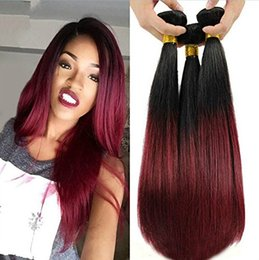 Wholesale Natural Red Hair Colors - blends well red ombre virgin Peruvian straight hair burgundy weave human hair soft tissage ombre burgundy bundles