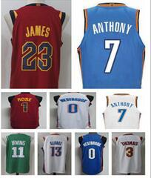 Wholesale Michael New - 17-18 New season #7 Carmelo Anthony #1 Derrick Rose #3 Isiah Thomas LeBron James 23 Michael 11 Kyrie Irving George westbrook jerseys