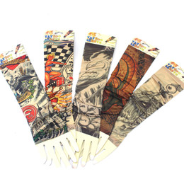 Wholesale Tattoo Sun Sleeves - 78 Styles Cool Temporary Pattern Cycling Sleeves Waterproof Tattoo Sleeves Anti Sun Temporary Tattoo Sleeves Driving Tatouage Temporaire DHL