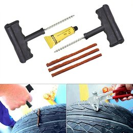 Wholesale Tubeless Repair Kit - Wholesale-Motorcycle Car Tubeless Tyre Puncture Repair Kit Tool Tire Plug Auto 3 Strips