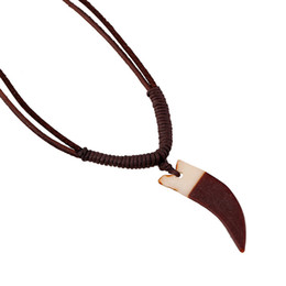 Wholesale Ox Horn Pendant - Fashion Jewelry Ox Horn Necklace Men's Personality Wax Rope Beaded Bovine Necklaces Clavicle Necklace Casual Vintage Punk Necklace N0022