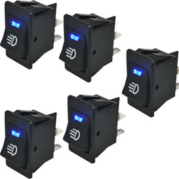 Wholesale Rocker Led Switch - 5 Pcs Car Rocker Switch 12V 35A ON OFF 4 Pin with Blue LED Light Universal Car Fog Light Switch ON-OFF Dash Dashboard