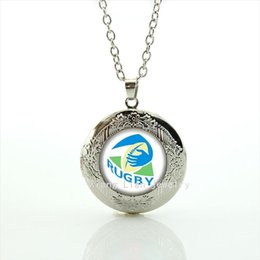 Wholesale Gold Gifts Christmas Pictures - Fresh green ball picture sport jewelry locket necklace Newest mix 32 sport rugby team accessory gift for boys and girls NF029