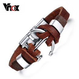 Wholesale Mens Leather Anchor Bracelets - Wholesale-Vnox Brown Genuine Leather Bracelets Charm Mens Jewelry Anchor Male Accessories