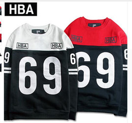 Wholesale Hba Hood Air Women - New York Fashion Street Wear Hood By Air HBA Hoodie Sweatshirts Men Women Autumn Winter Hip Hop 69 Printing Patchwork Sweatshirt