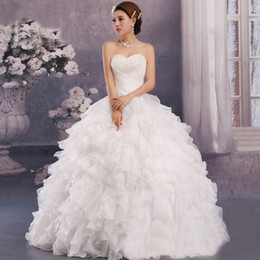 Wholesale Mading Simple - 2016 Wedding Dresses Women New Quinceanera Dresses Formal Party Ball Gown Pageant Wedding Dress Strapless White Red Carpet Dresses