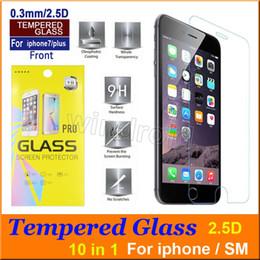 Vetro i6 online-Per Iphone 7 plus i7 i6 i5 SE S6 Pellicola proteggi schermo in vetro temperato antiscivolo pellicola 0.3mm 2.5D 9H a prova di esplosione 10 in 1 pacchetto di carta a buon mercato