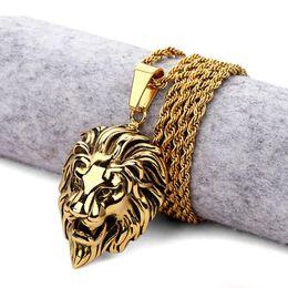 2019 collana di fronte del leone dell'oro Hot Mens Hip Hop Lion Collana in acciaio inossidabile placcato oro testa di leone viso argento gioielli di Charme collana di fronte del leone dell'oro economici