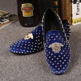 Wholesale Men Spike Loafers - Harpelunde Medusa Buckle Dress Shoes For Men Spikes Wedding Shoes Blue Velvet Slippers Leather Lining Free Drop Shipping Size 7-14