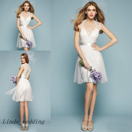 Wholesale Coloured Organza Wedding Dress - Free Shipping Summer Short Bridesmaid Dresses New Arrival Top Quality White Colour Zuhair Murad V-Neck A-Line Knee-length Wedding Party Gown