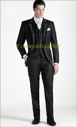 Wholesale White Groomsmen Embroidery Suits - Wholesale-One Button Black Embroidery Groom Tuxedos Groomsmen Mens Wedding Suits Prom Bridegroom (Jacket+Pants+Vest+Tie) NO:914