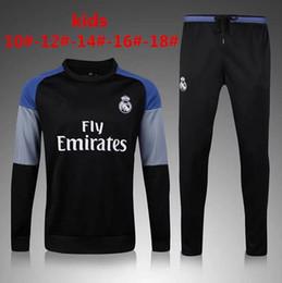 Wholesale Children Train - 2016 2017 Kids Long Sleeve Real Madrid Tracksuit Jogging Boys Soccer kit Football Suits Youth Sport Wear Children Ronaldo training tracksuit