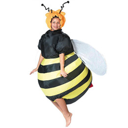 Wholesale Inflatable Halloween - Wholesale-Women's Bumble Bee Costume Inflatable Fancy Dress Outfit Purim Halloween Holidays Party Bar Club Cosplay Animal Suit Costume