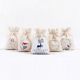 Wholesale Xmas Drawstring Gift Bag - Christmas Canvas Santa Drawstring Bag Reindeers Christmas Gifts Sack Bags Canvas Santa Sack Drawstring Bags Xmas Decoration IC711