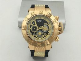 Wholesale Stainless Steel Watch Rings - Invicta Men Ring Rotary Watch AAA Rubber Luxury Quartz 6 Pointer Work Full Functional Stainless steel Super Big Gold Watch
