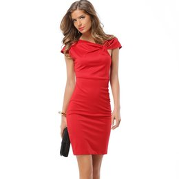 Wholesale Sexy Business Casual Dresses - Women Elegant Vintage Pinup Bow Ruched Tunic Business Casual Wear To Work Party Stretch Bodycon Pencil Sheath Dress DK1709LY