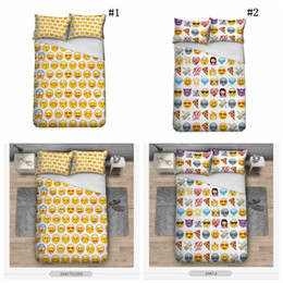 Wholesale Duvet Covers For Kids - Emoji Bedding Set Cute Expression Duvet Cover Set Printed Pillow Cases Bed Cover Sheet For Kids 3pcs set OOA2703