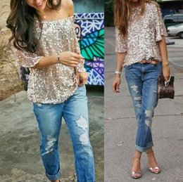015df83d1ae05b High Quality Girl's Lady's Women's Sequins Candy Colors Boat Neck Loose  Oversized Sequined Sparkle Glitter Cocktail Party T-shirt Tops