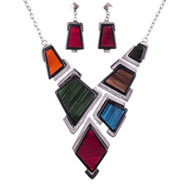 Wholesale Mixed Geometric Necklace - MS1504501 Fashion Jewelry Sets Hight Quality Necklace Sets For Women Jewelry Multicolored Resin Unique Geometric Box Design