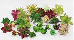 Wholesale Plastic Garden Ornaments - New Arrive Simulation Succulents artificial flowers ornaments mini green Artificial Succulents Plants garden decoration
