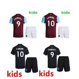 Wholesale Noble Set - Good quality 2017 2018 kids West Ham United soccer jersey youth kits set 17 18 LANZINI CARROLL PAYET NOBLE away football shirt
