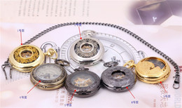 Wholesale Nostalgic Watch - Pocket watch clamshell mechanical pocket watch men and women students nostalgic carve patterns or designs on woodwork restoring ancient ways