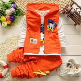 Wholesale Donald Duck Suit - Donald Duck Baby clothing boys girl clothing set sport Suit vest+T-Shirt+Pants 3pcs baby Sets baby family clothing