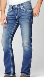 Wholesale Tr Jeans - New Men's True Jeans ROBIN High Quality Trousers Denim Designer Dark Solid color Straight tr Jean For Men Pants Free Shipping