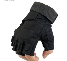 Wholesale Glove Tactic - Men's outdoor sports gym climbing adventure riding antiskid anticollision protective gloves tactics military gloves fingerless gloves