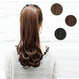 создание завитых волос Скидка Wholesale-Free Shipping Curly Make Up Women Big Horsetail Synthetic New Clip in Ponytail Hairpiece Hair Extension Hair Piece Pony#L04026