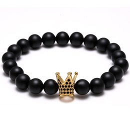 "Wholesale Titanium Black Stone - New Trend Men Bracelet Natural Stone Bead (8mm) Crown & Inlay Zirconia Stretch Bracelets for Mens Jewelry 7""-7.5"""