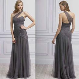Wholesale Monique Lhuillier Black - 2016 New Style Monique Lhuillier Bridesmaids Dresses One Shoulder Tulle with Sweetheart Floor Length Girls Formal Dresses
