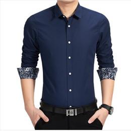 Wholesale Unique Designs Mens Shirts - Wholesale- New Arrival Cotton Casual Men Shirts Long Sleeve Floral Collar Unique Design Mens Social Business Shirts Slim Fit Size M-4XL,5XL