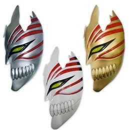 Wholesale Ichigo Cosplay Costume - Wholesale-Bleach masquerade cosplay mask half face death mask -Bleach Kurosaki Ichigo Costume Accessories Masks Decor