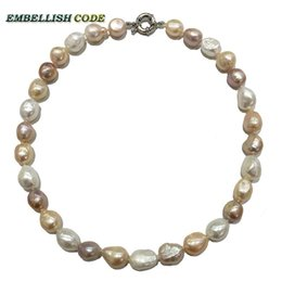Wholesale Irregular Pearls - special good sheen semi baroque irregular pearl necklace Mixed color white pink purple stely real freshwater pearls fine Jewelry for women