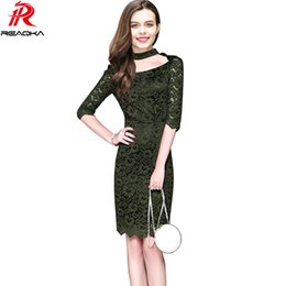 summer dress casual sheath Canada - New Sexy Women Plus Size Lace Dress Summer Elegant Casual Floral Hollow Half Sleeves Fashion Evening Sheath Party Dresses 2017 q1113