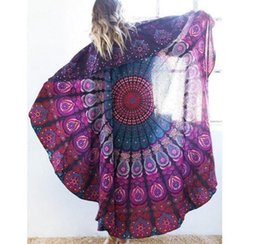 Wholesale Beach Sheets Towels - Wholesale-5 pieces   lot Round Wall Hanging Bed Sheet Banket Home Decoration Beach Towel Picnic blanket Beach Accessories ES1529