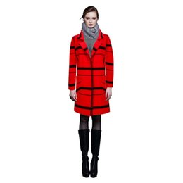 Wholesale Mink Overcoat - 2016 Fall Winter New Women's Fashion Knitted Large Grid Mink Cashmere Coats Female Long Warm Lapel Cardigan Outerwear Overcoat one size