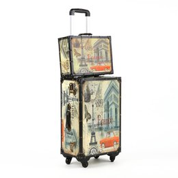 Wholesale French Board - Wholesale-New French style PU+Wood Retro Rolling Luggage Spinner 20 Inch Boarding Box 24 Inch Travel Bag Suitcase Card Luggage Set