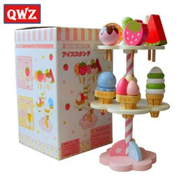 Wholesale wooden kitchen play set - QWZ Baby Toys Simulation Magnetic Ice Cream Wooden Toys Set Pretend Play Kitchen Food Baby Infant Toys Food Kids Christmas Gift